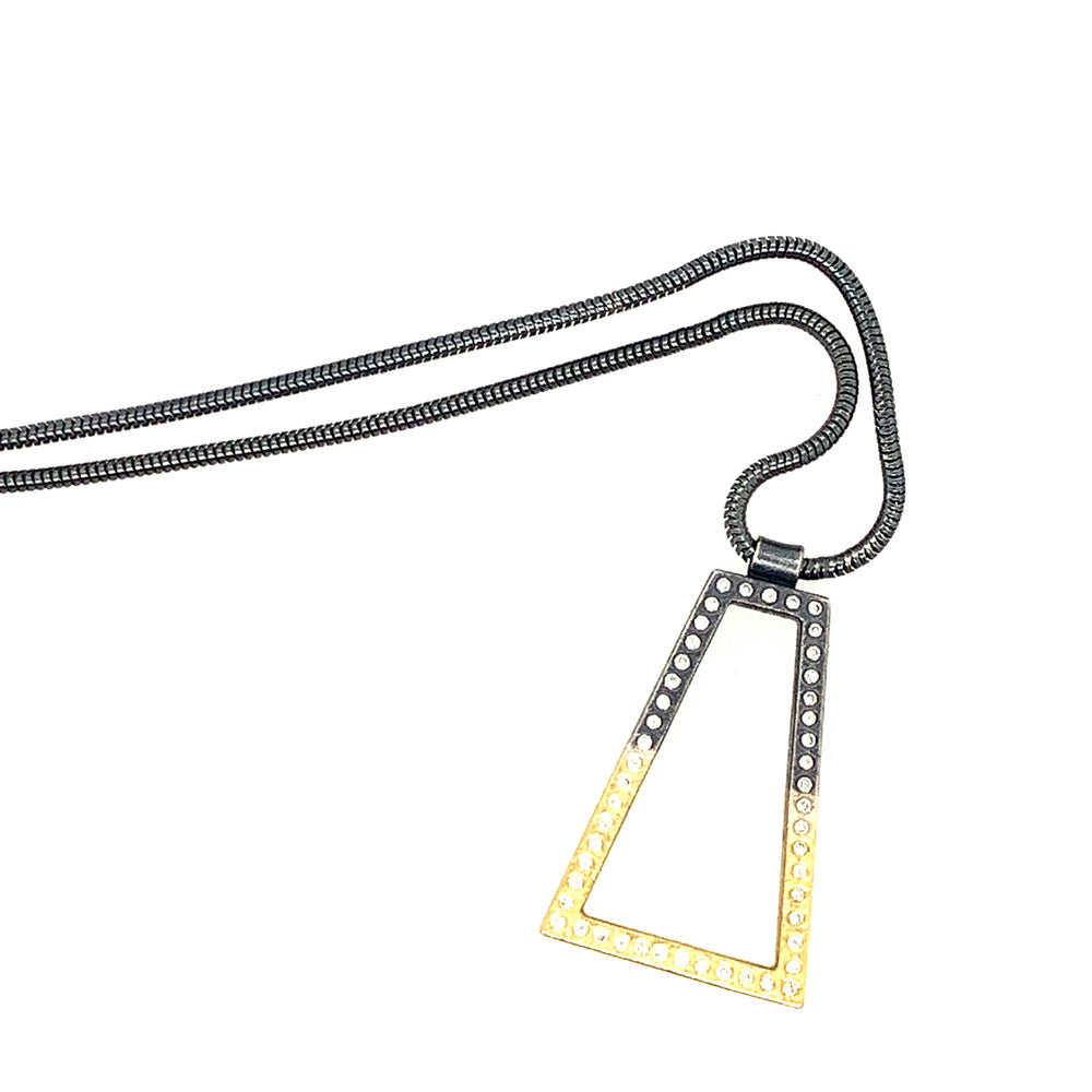 18k Yellow Gold and Sterling Silver Necklace