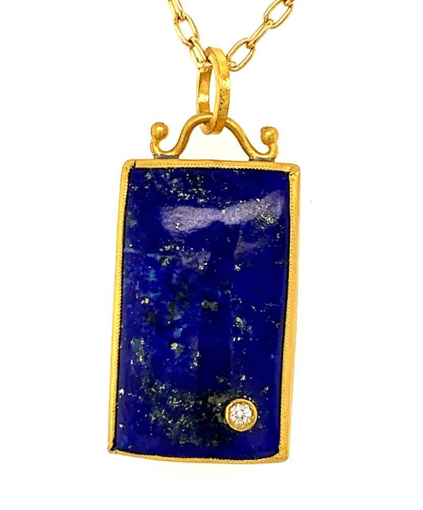 24k Gold over Sterling Silver Lapis with a .03cttw of diamond pendant