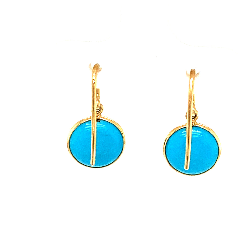 Turquoise Simple Round Dangle Earrings