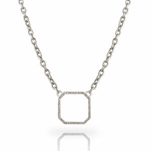 Open Diamond Pave Pendant Necklace