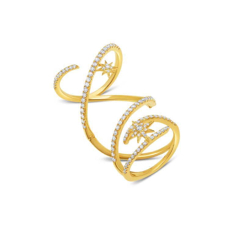 Diamond Mega Swirl Ring in Yellow