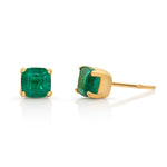 Square Emerald Stud Earrings