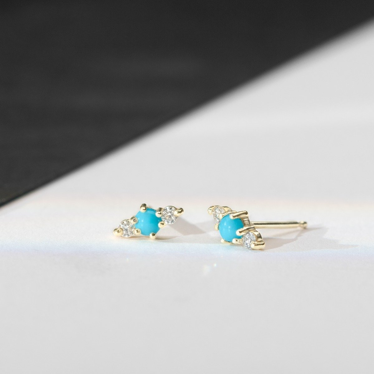 Hanley Turquoise and White Diamond Stud