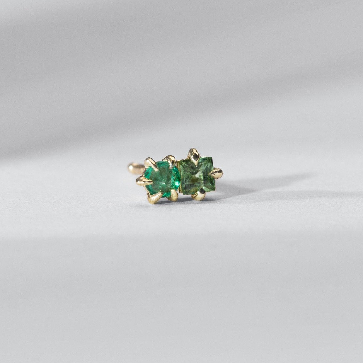Duo Stud-Emerald and Tsavorite