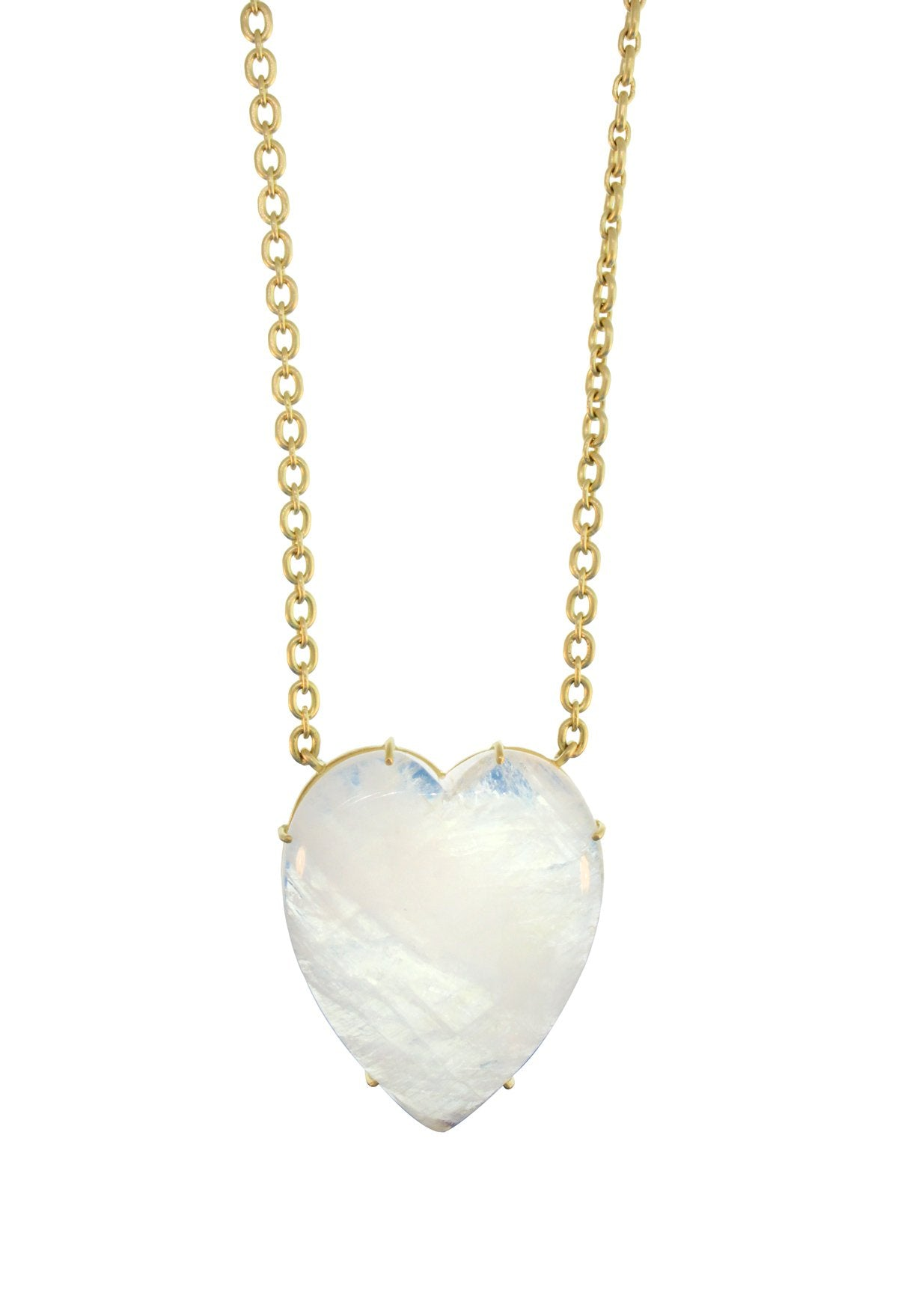 One of a Kind Rainbow Moonstone Heart Necklace