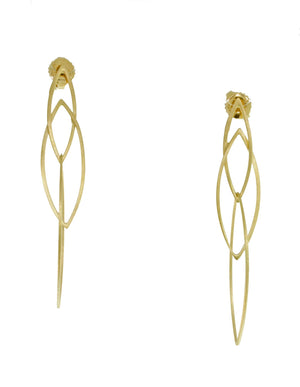 GOLD PLATED OPEN MARQUEE EARRINGS
