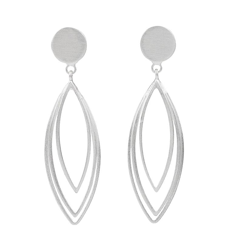 SILVER THIN MARQUISE EARRINGS