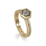 Hex Diamond Center Stone Ring