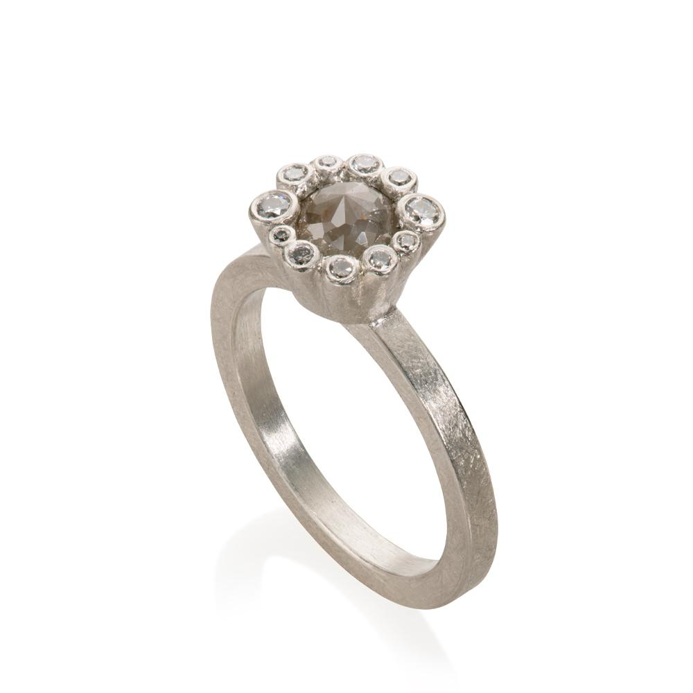 Palladium And Diamond Center Stone Ring