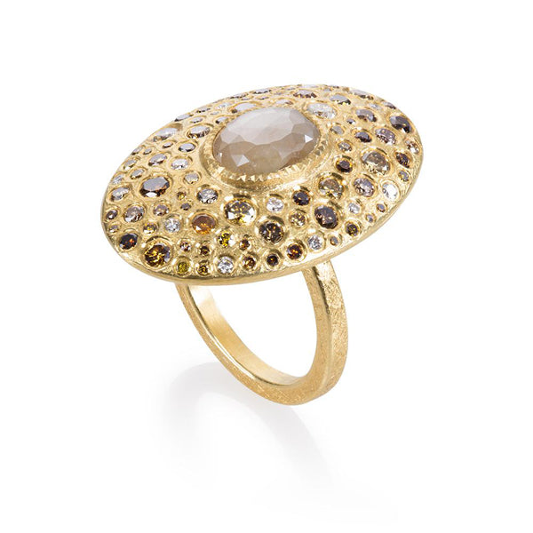 Gold And Diamond Oval Ring
