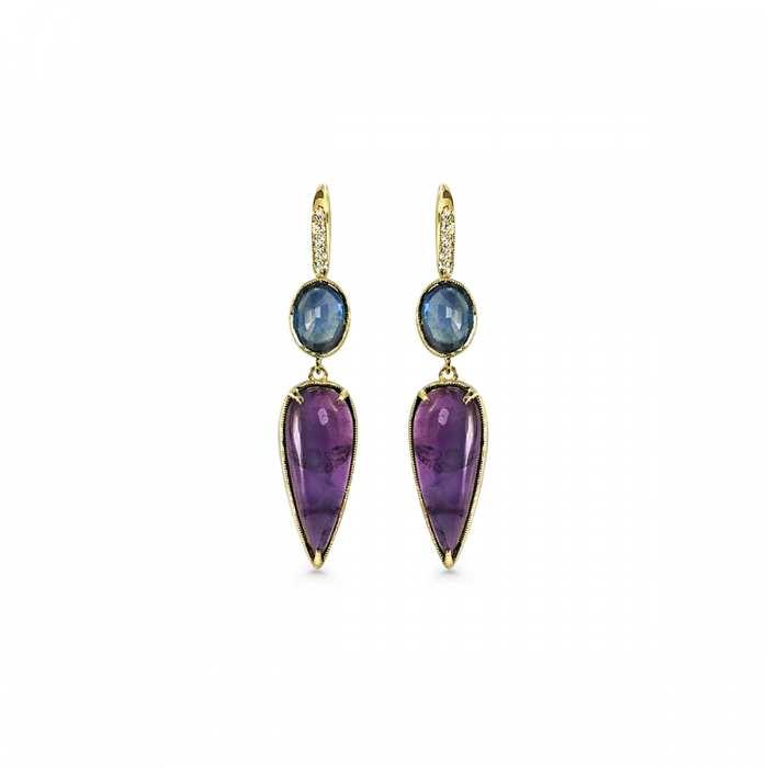 2 stone earrings with diamonds