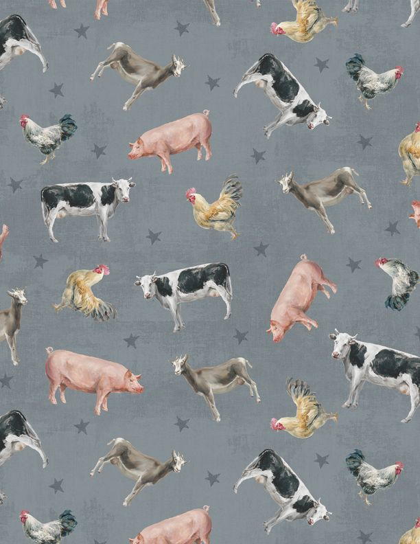 Wilmington Prints Farmhouse Chic Pattern Animals Color Gray 8920 492