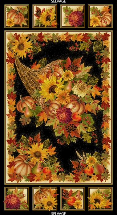 Harvest Cornucopia Panel 24in x 44in. Sold By the Panel