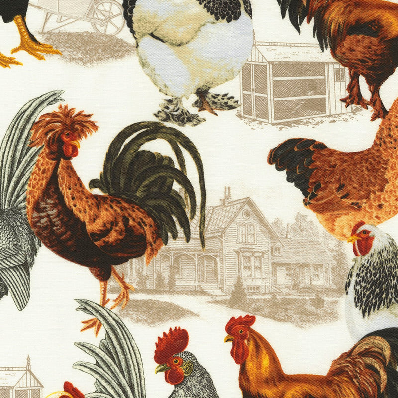 Timeless Treasures Foam Country Chicken Coop Toile C6543