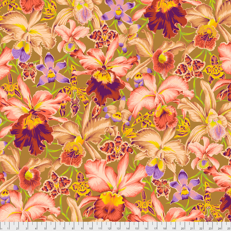 Orchids Color Brown PWPJ092.Brown  Philip Jacobs For Kaffe Fassett Collective
