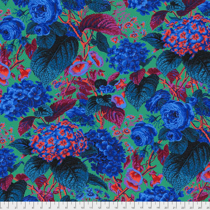 Rose & Hydrangea Color Blue PWPJ097.Blue  Philip Jacobs For Kaffe Fassett Collective