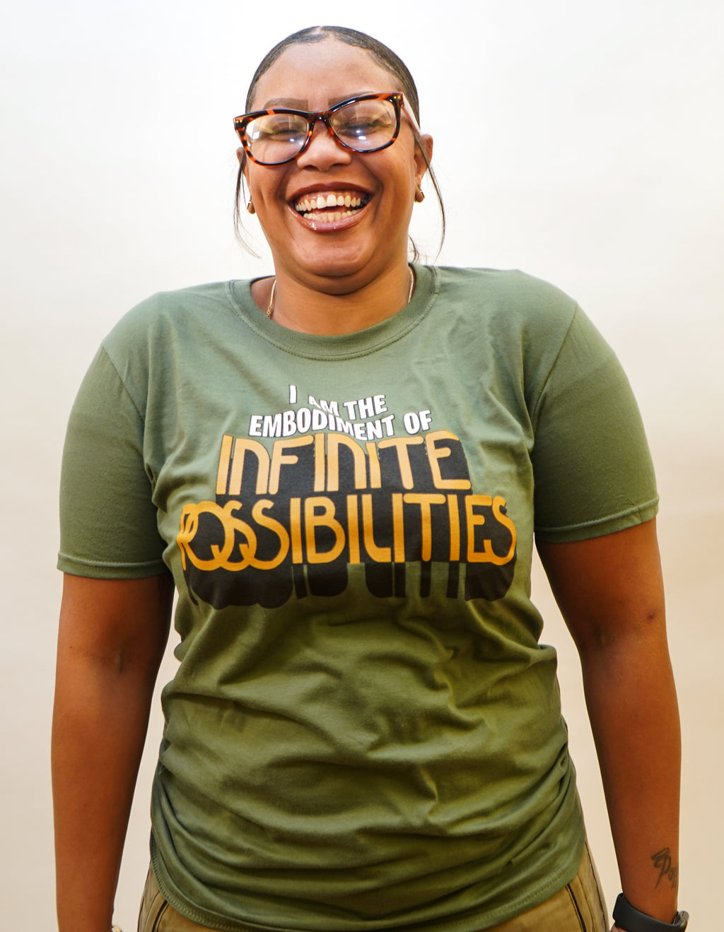 INFINITE POSSIBILITIES MILITARY GREEN SHORT SLEEVE T-SHIRT | UNISEX | SALE