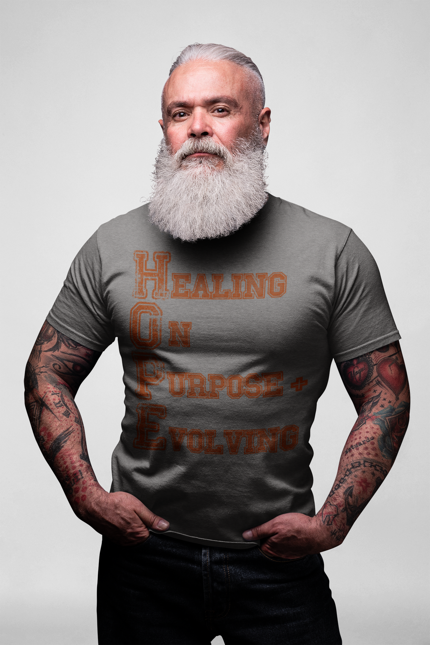HOPE - HEALING ON PURPOSE EVOLVING GREY SHORT SLEEVE T-SHIRT | UNISEX | SALE