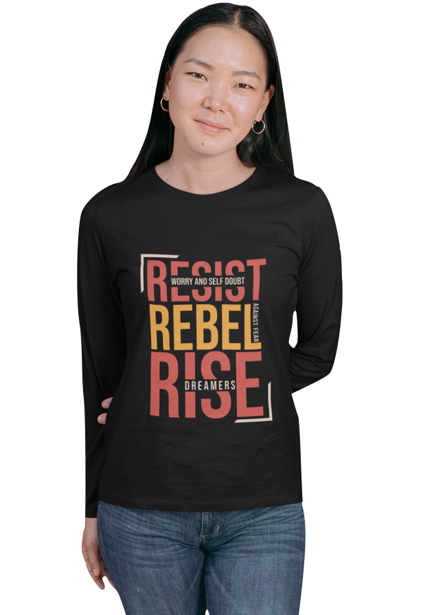 RESIST REBEL RISE LONG SLEEVE BLACK TEE | UNISEX
