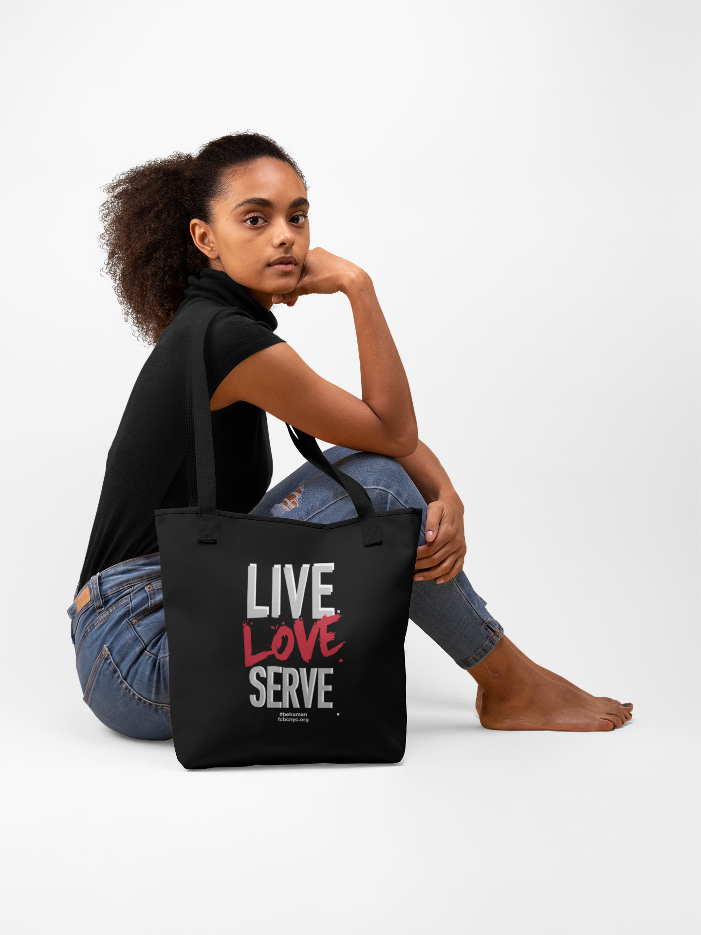LIVE. LOVE. SERVE. BLACK CANVAS TOTE