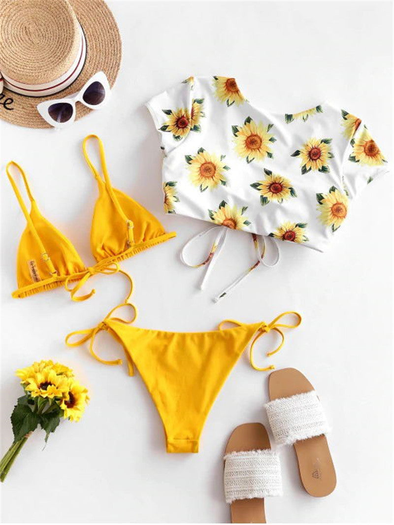 Wendy Lace Up Bandage Sunflower Bikini Set