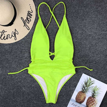 Khaela Neon Deep V Swimsuit