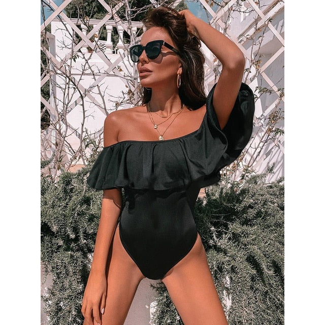 Olympia Black Floral Off-Shoulder One-Piece Swimsuit.