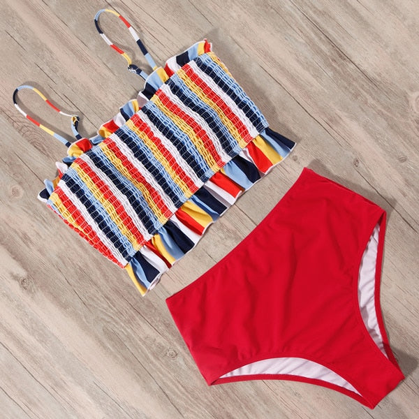 Ashlyn Smocking High Waist Swimsuit Set