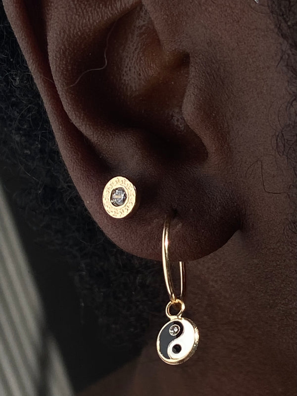 "The 14K Solid Gold ""Yin Yang"" Huggie Hoops"