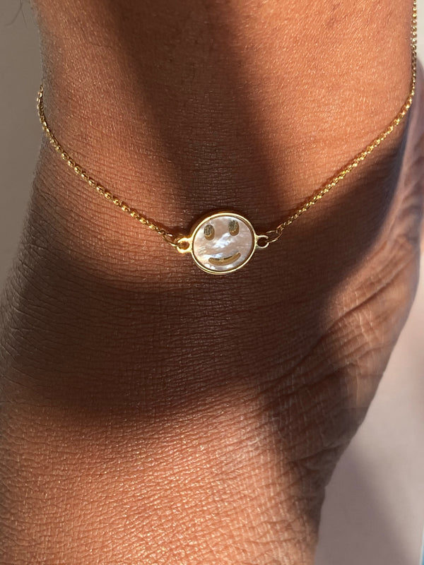 "The 14K Solid Gold ""Chanel"" Mother-of-Pearl Anklet"