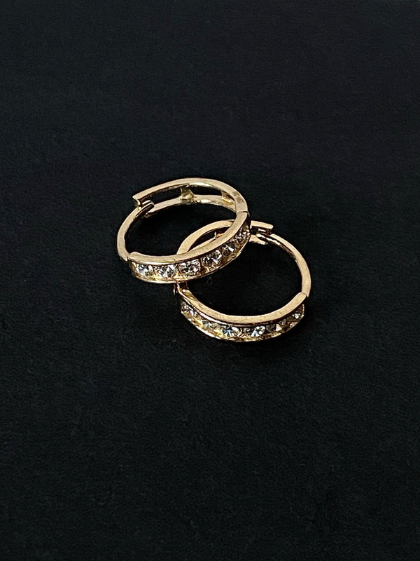 "The 14K Solid Gold ""Evelyn"" CZ Huggies"