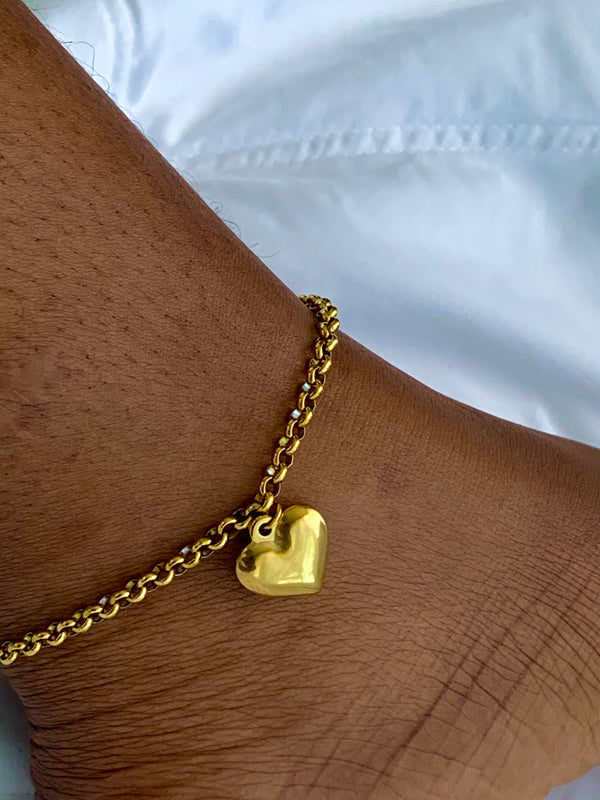 """Single Heart"" Vintage Gold Chain Anklet"