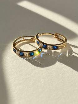 "The 14K Solid Gold ""Esther"" Sapphire Huggies"