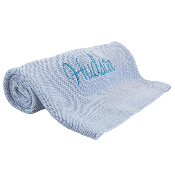 Personalized Baby Blanket, Cotton Knit Blanket Blue