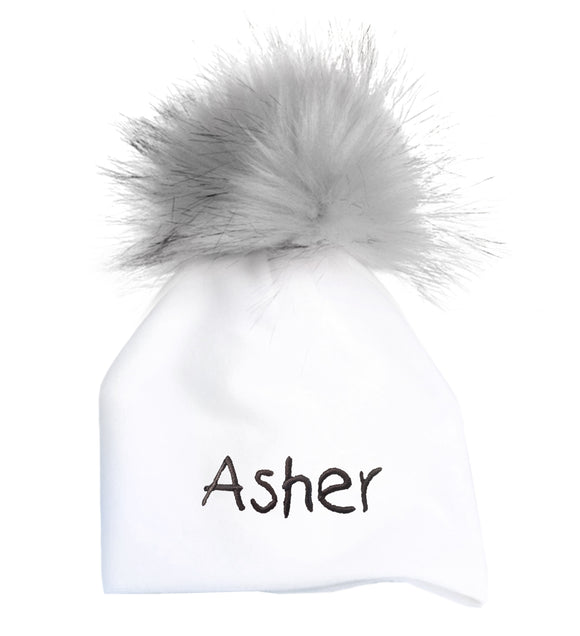 Personalized Baby Hat with Pompom