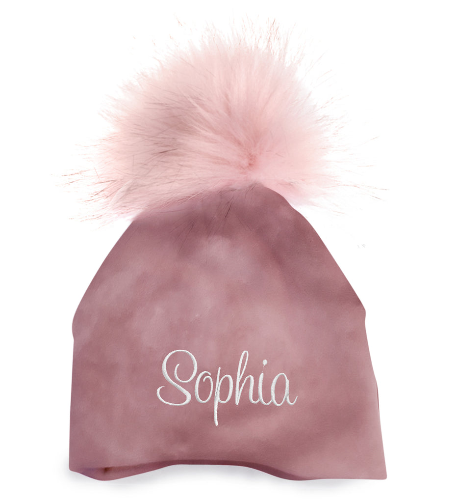 Personalized Baby Hat Mauve Velour with Pink Pompom