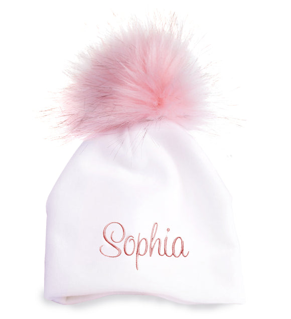 Personalized Baby Hat White Cotton with Pink Pompom