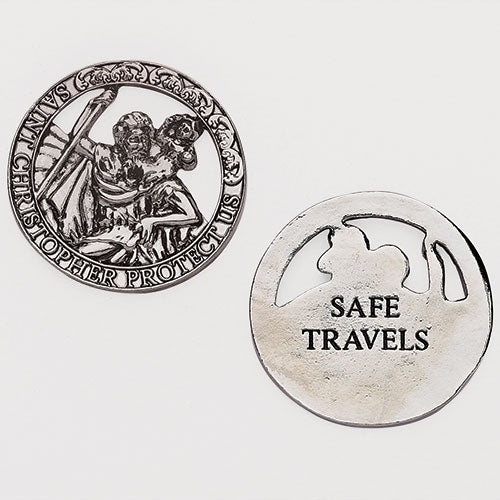 "Roman Inc St. Christopher Travel Token ""Safe Travels"""