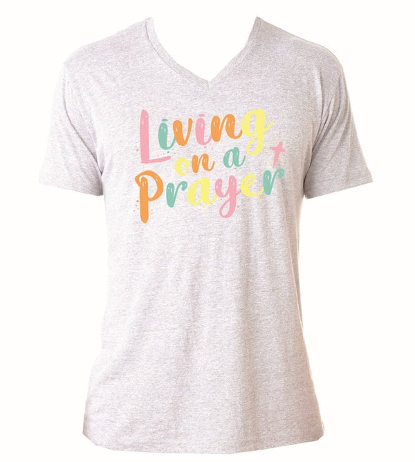 Jane Marie Living On A Prayer V-Neck T-Shirt Heather White JM2873T