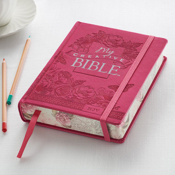 Christian Art Gifts Bright Pink Faux Leather Hardcover My Creative Bible - KJV Journaling Bible KJV030