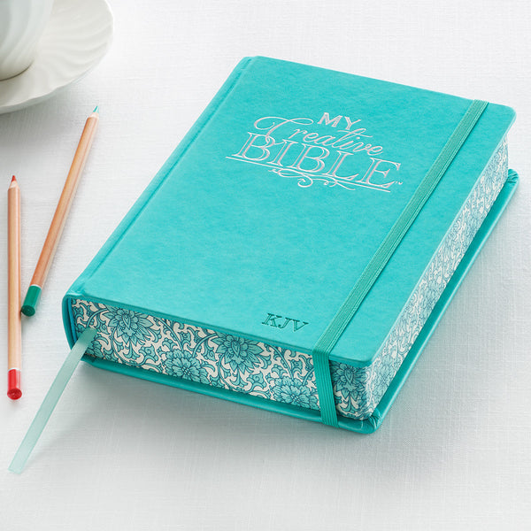 Christian Art Gifts Teal Faux Leather Hardcover My Creative Bible - KJV Journaling Bible KJV033