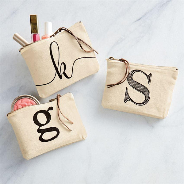 Mud Pie Initial Canvas Cosmetic All Purpose Bag