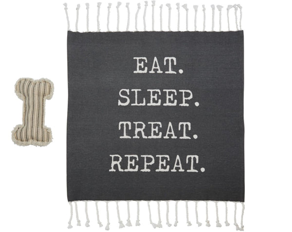 Mud Pie Dog Blanket And Toy Set - Two Assorted Eat. Sleep. Treat. Repeat. 40220042R