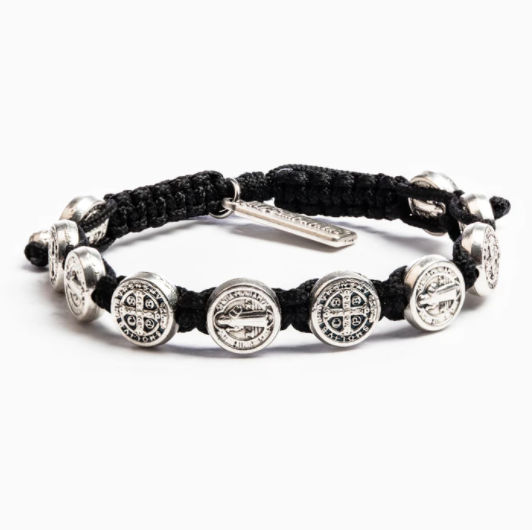 My Saint My Hero Benedictine Blessing Bracelets 10001BK Black Silver