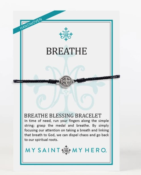My Saint My Hero Breathe Blessing Bracelet Black/Silver  14001BK