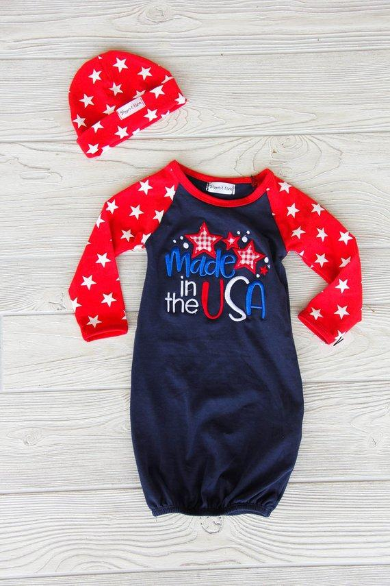 Made in the USA Newborn Twin Gown Set
