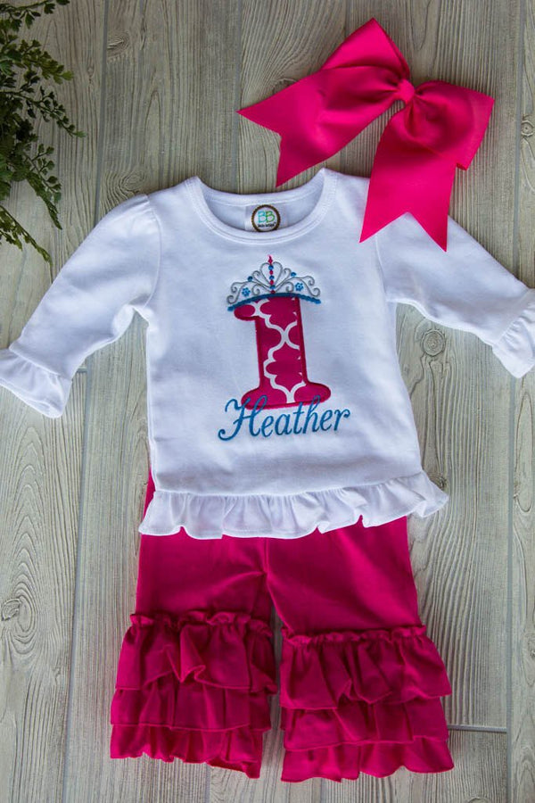 First Birthday Girl Outfit w/ Name
