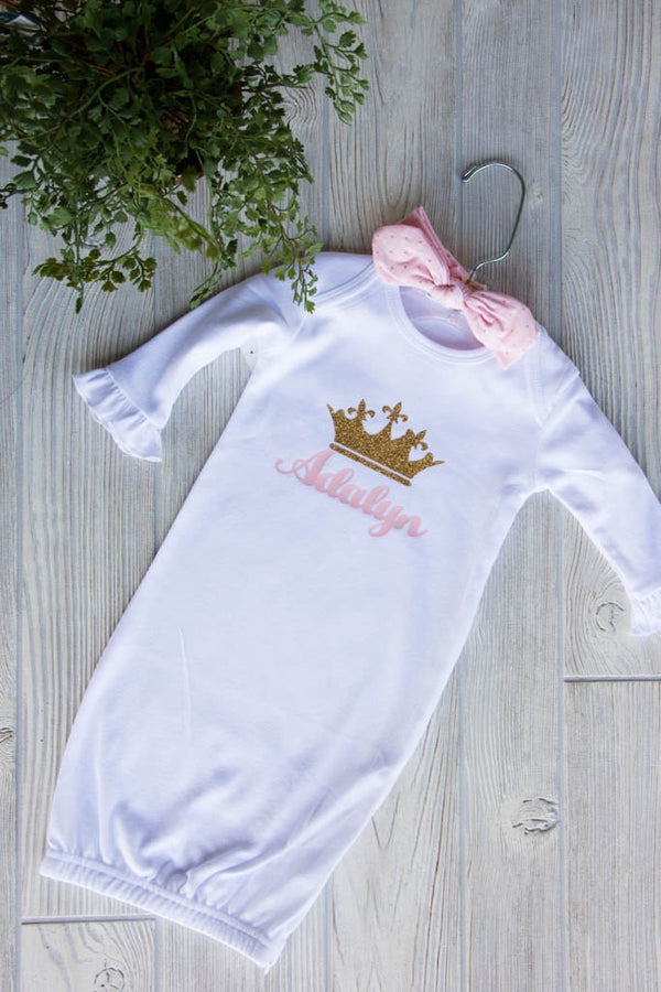 Newborn Gown w/ Name and Crown