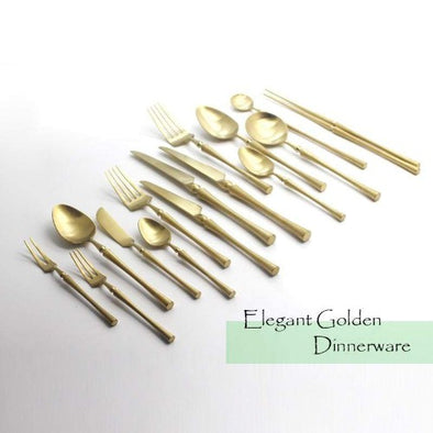 Matte Golden Cutlery Set 304 Stainless Steel