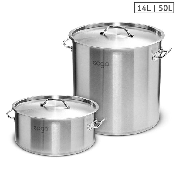 SOGA 14L Wide Stock Pot  and 50L Tall Top Grade Thick Stainless Steel Stockpot 18/10